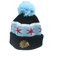 Chicago Blackhawks NHL Reebok Youth Boys OSFM Cuffed Pom Knit Beanie New Tags