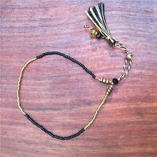 Lot de 2 Bracelets bohemien perles crystal pompons NEUF FEMME FILLE ENFANT