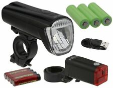 Bicycle Lighting Set 45 LUX LED Headlight Battery & USB Charger Cable,Rear Light