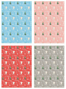 2 Sheets Baby's 1st / First Christmas Girl / Boy Wrapping Paper Gift Wrap (PA)
