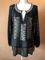 JOIE Black 100% Silk Embroidered Boho Peasant Long Sleeve Blouse Top Size Small
