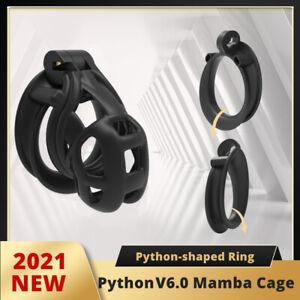 2021 Python V6 3D Mamba Cage Male Chastity Device Double-Arc Cuff Ring Cobra Set
