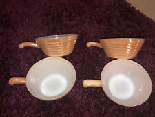 4 VTG Fire King Milk Oven Ware Glass Soup Crock Bowl Handle Iridescent Peach