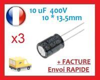 3 Condensateurs électrolytique 10µF 10uf 400v RADIAL 105°