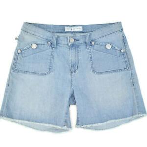 Rock & Republic Stringer Light Mid Rise Cut Off Jean Shorts Button Pockets 10