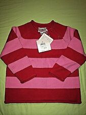 Hanna Andersson Stripe Rollneck Sweater Pink Red NIB 80 cotton longsleeve