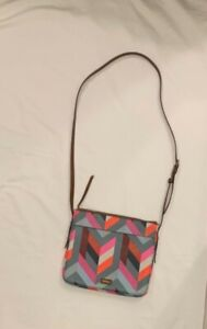 Fossil Cross Body Bag, New Without Tags, Gray, Brown, Pink, Red Geometric