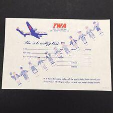 TWA Constellation Certificate for Baby on Skyliner Flight Heinz Co. Airline