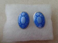 Antique Pair of Beautiful Blue Guilloche Oval Sterling Silver Buttons