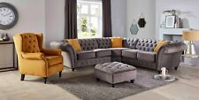 New Chesterfield Corner Sofa in Luxury Blue Grey Silver Velvet 2, or 3 Seater