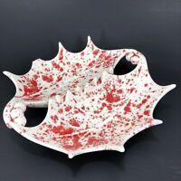 "Vintage Red Drip Glaze Ceramic Mid Century Modern Ashtray 9 1/2"" x 8 1/2"""