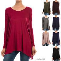 Womens Tunic Long Sleeve Scoop Neck Asymmetrical Hem Trapeze Top Blouse T-Shirt