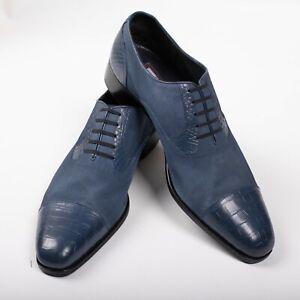 Great $4950 Artioli Blue Oxford CROCODILE  Suede Shoes 9UK / 10US / 43EU