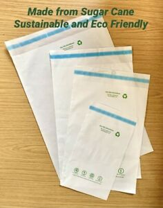 Sustainable Sugarcane Mailing Postal Bags - Eco Friendly - Self-Sealing 5 Sizes