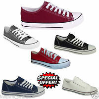 NEW MENS FLAT CASUAL LACE UP CANVAS BOYS TRAINERS PLIMSOLLS PUMPS SHOES SIZE