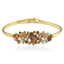 14k Gold Plated Brilliant Solid Crystals Bangle Bracelet With Swarovski Elements