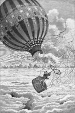U.S.A - DEATH of AERONAUT LA MOUNTAIN at IONA (MICHIGAN) - Engraving from 19th