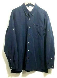 The North Face Mens Navy Blue Blend Roll-Up Sleeve Button Front Shirt XL