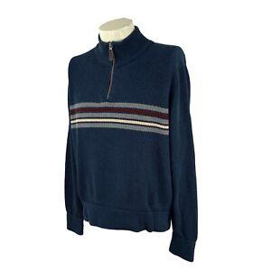 Eddie Bauer Men's1/4 Zip Pullover 100% Cotton Ribbed Knit Blue Stripe Sweater XL