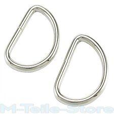 50 D-Ringe / Halbringe 28 x 19 x 3mm Stahl Vernickelt