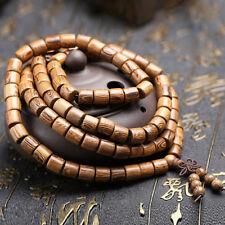 Mala Tibetano Rosario Buddista Buddha grani legno wenge collana bracciale resina