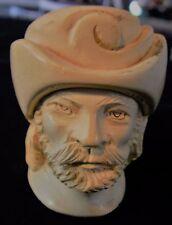 """Meerschaum Ottoman Turkish Sultan Beared Man Head Feather Hat 5"""" Tobacco Pipe"""