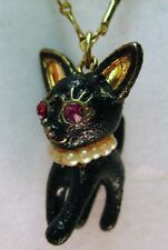 Betsey Johnson Rose Garden Collection cat hard to find authentic Necklace