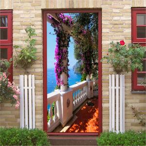3D Seaside Balcony Scenery Door Sticker Self-adhesive Bedroom Door Mural Poster