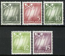 Greenland 1963, Northern lights, Aurora Borealis set VF MNH, Mi 47-51