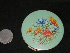 Vintage Stratton Green Painted Floral Compact