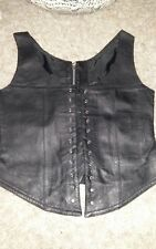 NEWWOMENS REAL LEATHER BIKER STYLE WAISTCOAT/VEST STEAM PUNK ROCK CHIC SIZE 12