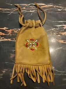 Native American Deerskin Leather Medicine Bag Pouch Detroit Lakes Minnesota Beed