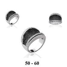 Dolly-Bijoux Bague Rhodié T56 Micro-sertie de Diamant Cz Noir & Blanc Argent 925
