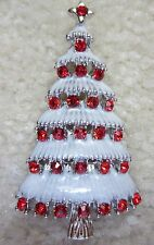 VINTAGE STYLE VICTORIAN CHRISTMAS TREE AUSTRIAN RED CRYSTAL SILVER TN BROOCH PIN