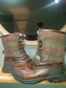 STUNNING  MENS BUTTE PLAID STOUT SZ 12 UK. LEATHER AND SHEEPSKIN.