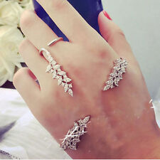 Zircon Hand Cuff Leaf Crystal Palm Bracelet Bangle Ring Gift Fashion Jewelry Set