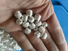 100 Amazing Super Heavy Duty Beads Sterling Silver Corrugated 5 MM