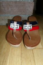 Tommy Hilfiger Women's Mecca Wedge Heel Platform Sandal Leather Thong Size 6M