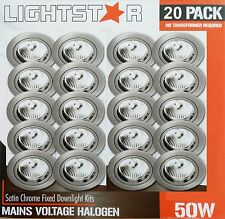 20 Pack x Satin Chrome Fixed Downlight Kits 240V 50W GU10 Halogen Dimmable 70mm