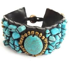 WIDE LEATHER CUFF BRACELET WITH REAL TURQUOISE OVAL STONE AND GEMSTONE CHIPS.