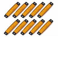 10Pcs Orange 12V 6 LED Side Marker Indicators Lights Vans Truck Trailer Bus UK