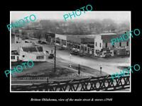 OLD LARGE HISTORIC PHOTO OF BRITTON OKLAHOMA, THE MAIN STREET & STORES c1940
