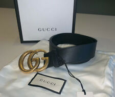 gucci black leather belt 100% authentic with double G buckle