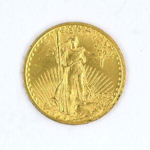 1908 NO MOTTO $20 SAINT GAUDENS DOUBLE EAGLE 90% GOLD US COLLECTIBLE COIN XF-AU