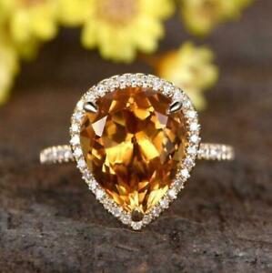 3Ct Pear Cut Yellow Citrine & Diamond Halo Engagement Ring 14K Rose Gold Finish.