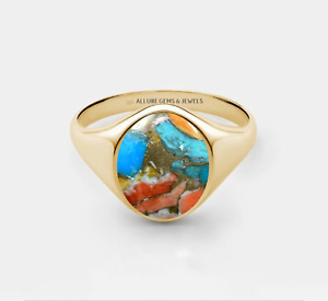 Men Oyster Turquoise Ring,Gold Signer Ring, Mens Turquoise ring Gift For Husband