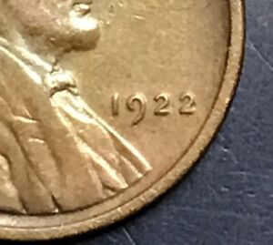 VERY NICE KEY DATE 1922 WEAK OR NO D LINCOLN WHEAT CENT?    FREE US SHIPPING