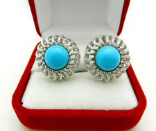 Beautiful 585 14k White GOLD Turquoise Earrings with OMEGA BACK 10.4 grams
