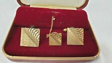 Vintage 1960's Mens Gold Coloured Cufflinks & Tie Pin In Original Box
