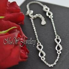 925 Sterling Silver Rhodium Plated Chain Bracelet  INFINITY with ZIRCONIA